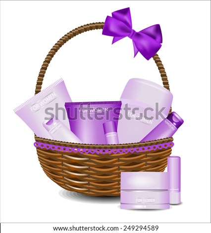 Spa gift basket stock images royalty free images vectors set of different beauty products in a wicker basket for women negle Choice Image