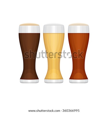 Set of different beer glasses. Types of beer. Flat design style, vector illustration.
