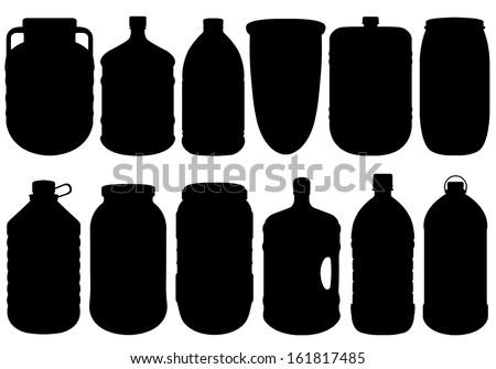 Set of different big bottles - stock vector