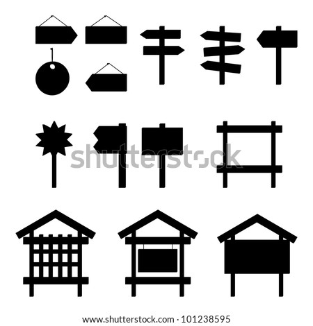 Set of different billboards and signs, black silhouette pictograms. Vector - stock vector