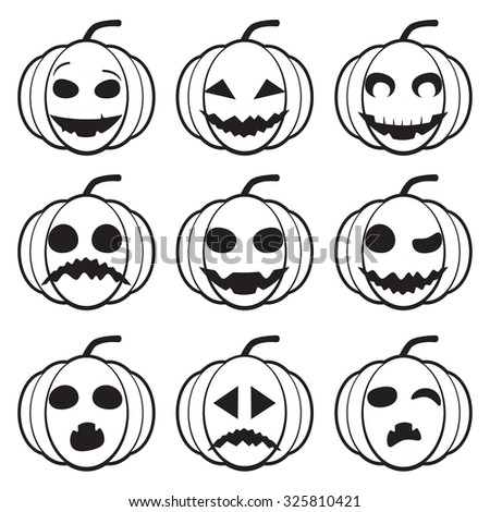 Set of different black and white pumpkins for Halloween. scary and funny emotions. vector halloween pumpkin vegetable fruit isolated on white background - stock vector