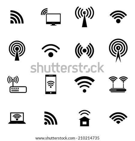 Set of different black vector wireless and wifi icons for remote access and communication via radio waves. Vector illustration. - stock vector