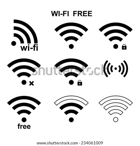 Set of  different black wireless and wifi icons for remote access  - stock vector