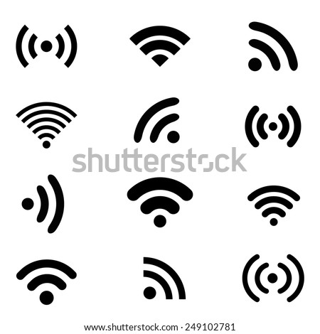 Set of different black wireless and wifi icons for remote access and communication via radio waves. Vector illustration EPS10 - stock vector