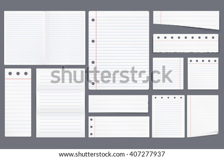 Set Different Blank White Lined Paper Stock Vector (2018) 407277937 ...