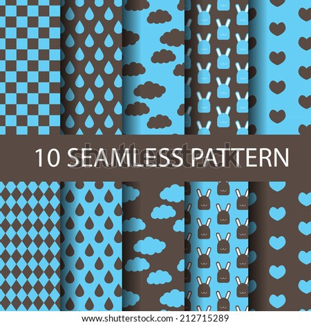set of different blue and brown vector seamless patterns natural concept. Endless texture can be used for wallpaper, pattern fills, web page background,surface textures. - stock vector