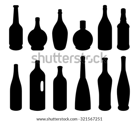 Set of different bottles. Black silhouettes. Vector illustration.