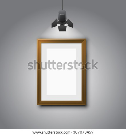 Set of different brown frames gallery room gray wall interior illuminated with spotlights. Realistic 3d vector illustration - stock vector