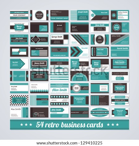 Set of 54 different business cards in retro style. - stock vector