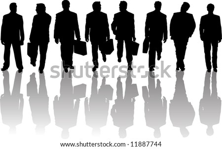 Set of Different Business Pose Men People  Silhouettes with Reflecting Shadows. In Action, Standing. With Briefcase and Without It.  High Detail Vector Illustration.