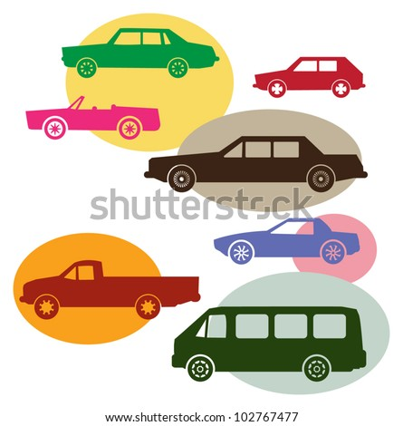 Set of different car symbols, vector illustration