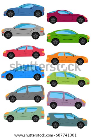set of different car types multicolored cars collection isolated vector illustration