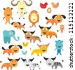 set of different cartoon animals for scrapbook, cards, toy, decor, illustrations, stickers - stock vector