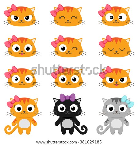 Set of different cartoon cats with various emotions - stock vector