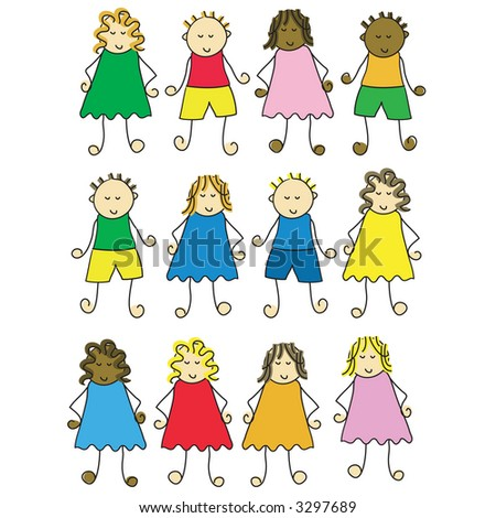 set of different cartoon children - stock vector