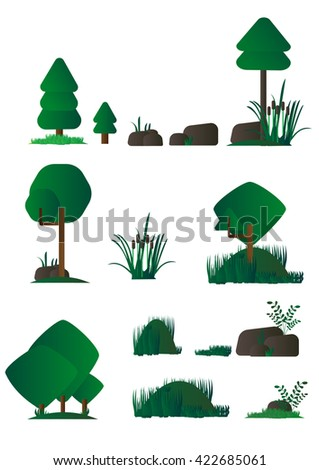Set of different cartoon flora, marsh plants in flat design, bushes, trees, rocks. Video Game - stock vector