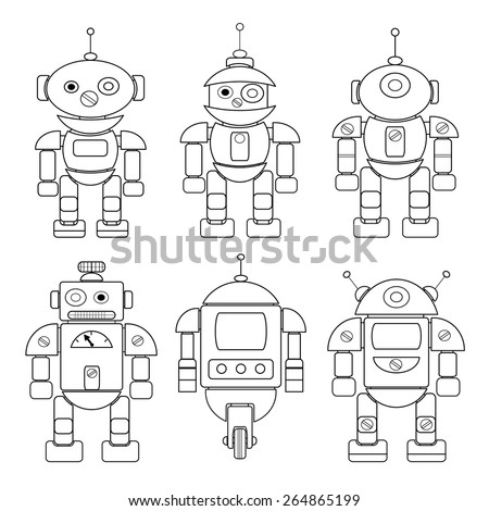 Set of different cartoon robots. Coloring book.