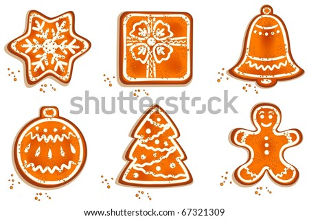 Set of different christmas cookie on isolated white background. Vector illustration. - stock vector