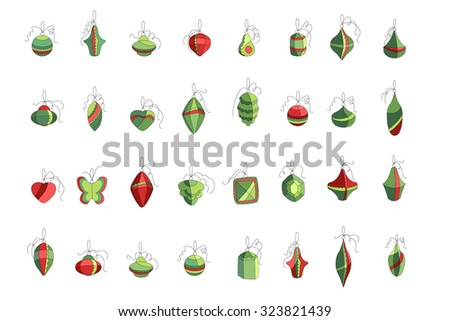 Set of different Christmas decorations isolated on white. Simple colors. For Christmas design, announcements, postcards, posters. - stock vector