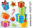 Set of different Christmas gifts, vector - stock photo