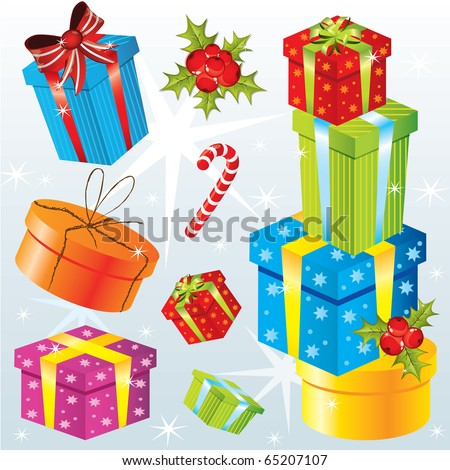 Set of different Christmas gifts, vector