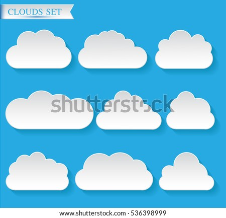 Set of different clouds.Cloud vector icon set.