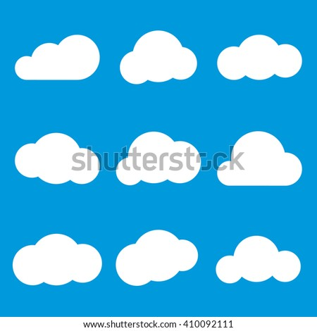 Set of different clouds, Clouds set icons. Vector illustration - stock vector