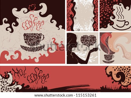 Set of different coffee backgrounds - stock vector