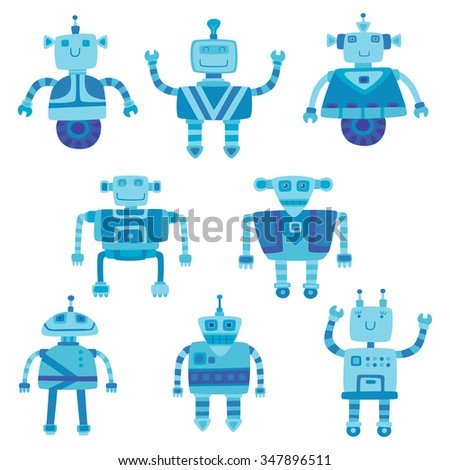 Set of different color cute robots. Vector illustration. - stock vector