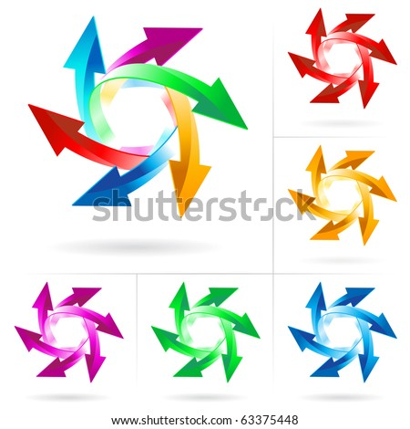 Set #9 of different colored arrow circles isolated on the white - stock vector