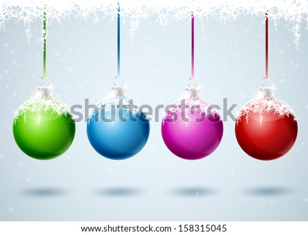 Set of different colored Christmas balls - stock vector