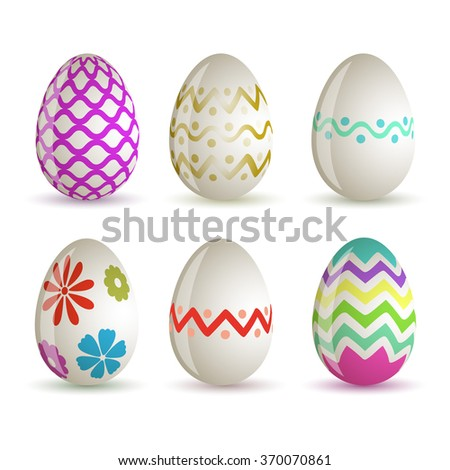 Set of different colored Easter eggs. Easter 2016. Vector. - stock vector