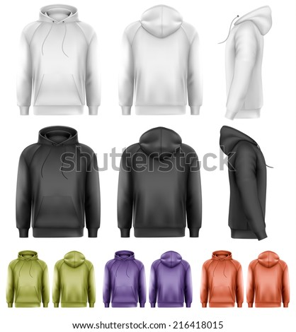 Set of different colored male hoodies. Vector.  - stock vector