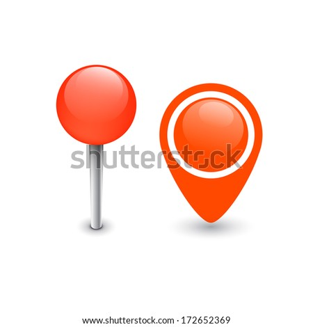 Set of different colored map pin markers - stock vector