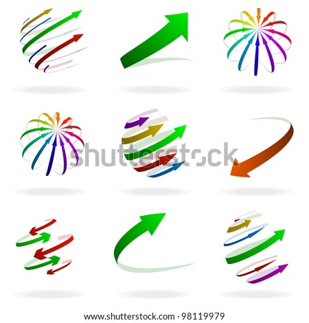 set of different colorful arrow illustrations - stock vector