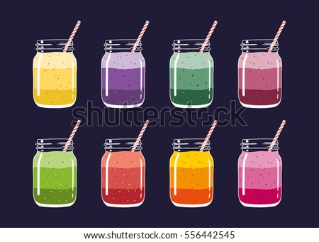 Set of 8 different colorful layered smoothies in mason jars with striped straws. Fresh natural healthy delicious fruit and berry drinks, isolated.  Vector hand drawn illustration eps10.