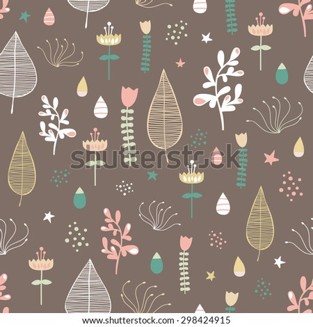Set of different colorful plants and flowers. Cute objects on brown background. Floral collection. Seamless pattern. Tulips and leafs. Bright texture. - stock vector