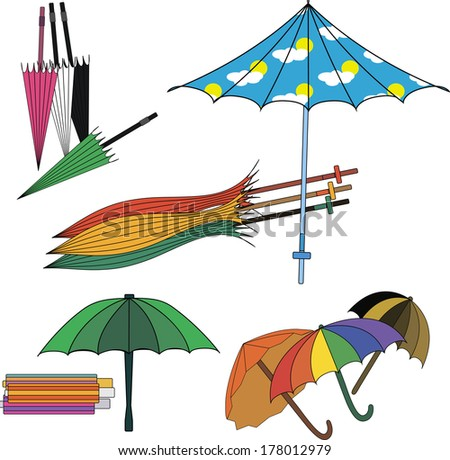 Set of different colorfull umbrellas. Vector illustration.