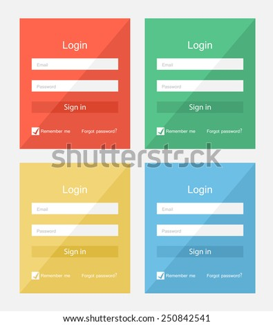 Set of different colors login forms, flat UI design - stock vector