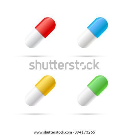 Set of different colours pills, capsules isolated on white - stock vector