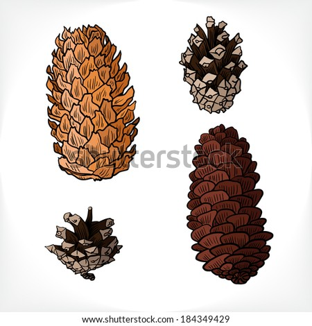 set of different cones , hand drawn vector illustration - stock vector