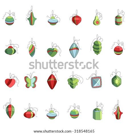 Set of different contour Christmas decoration isolated on white. Simple colors. For Christmas design, announcements, postcards, posters. - stock vector
