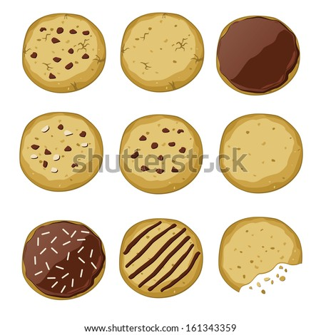 Set of different cookies (vector illustration) - stock vector