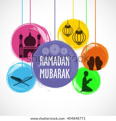 Set of different creative Islamic elements in colourful circles for Holy Month of Muslim Community, Ramadan Mubarak celebration. - stock vector