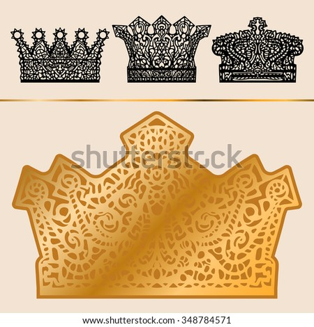 Set of different crowns. From the hand-drawn image of a symbolic element of the head of royalty. - stock vector