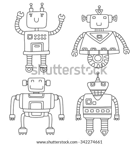 Set of different cute robots. Vector illustration.