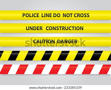 Set of different danger tapes. Tapes with text Under construction, Caution Danger, Police line do not cross - stock vector