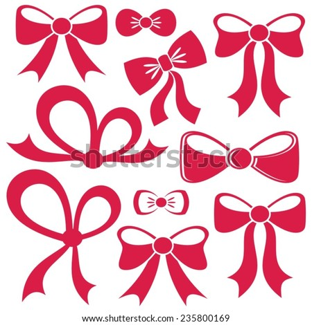 Set of different decorative red vector bows isolated - stock vector