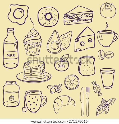 Set of different doodle style food