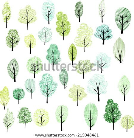 set of different doodle trees, vector illustration - stock vector